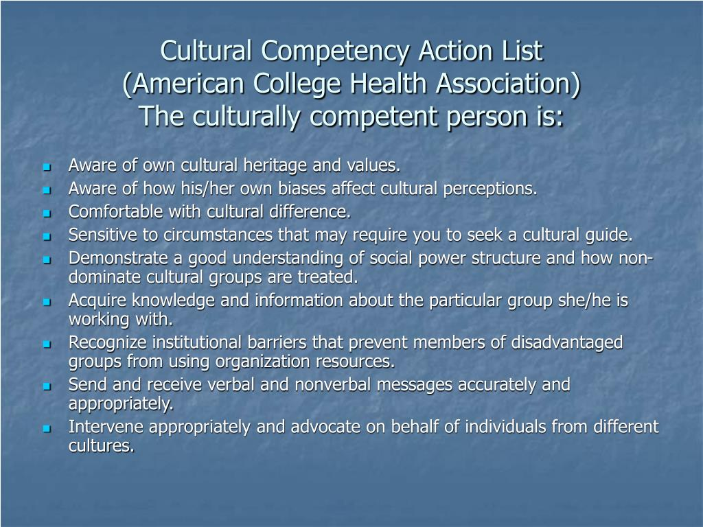 Cultural Competency Action List