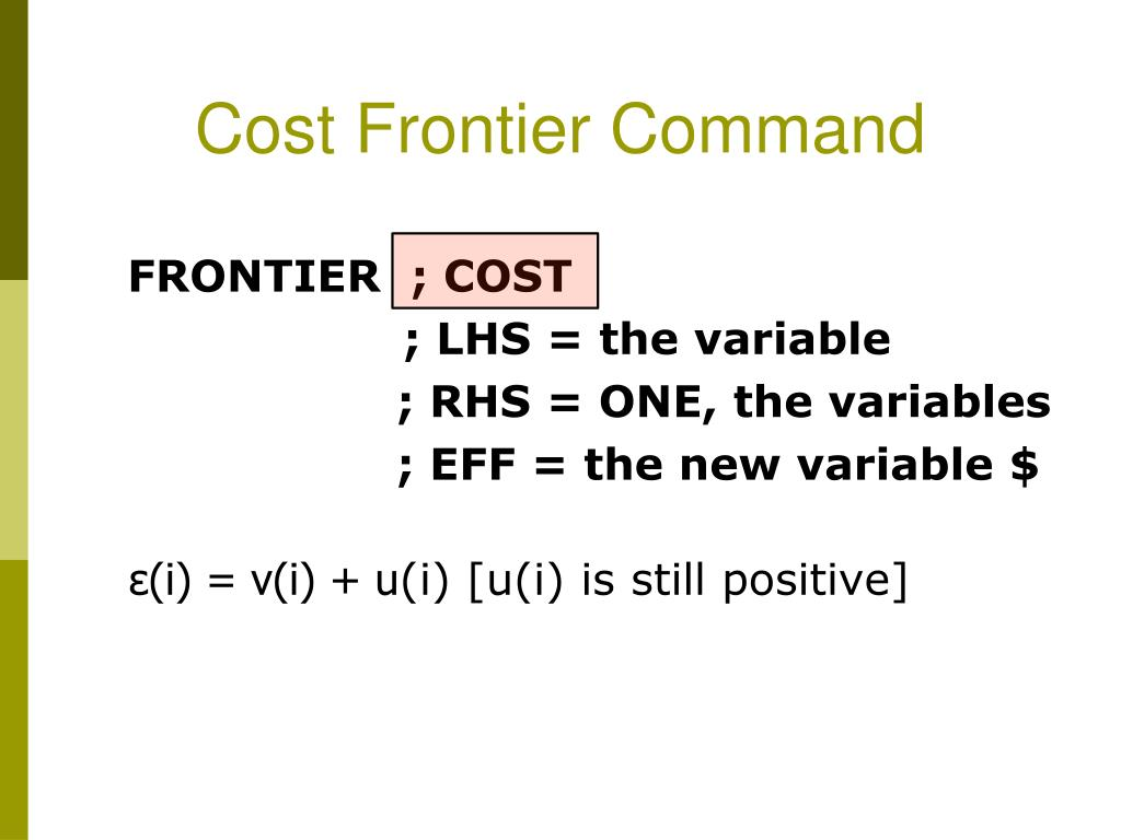Cost Frontier Command
