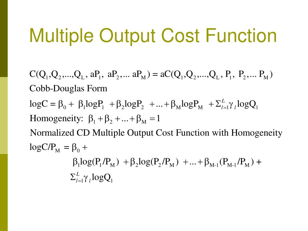 Multiple Output Cost Function