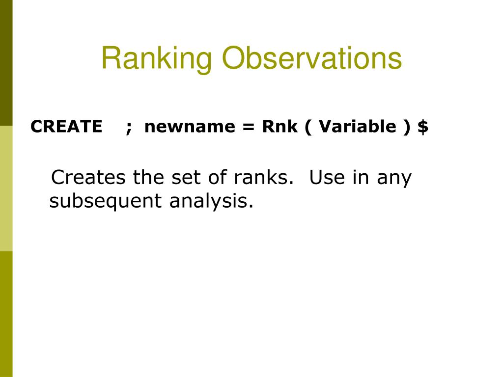 Ranking Observations