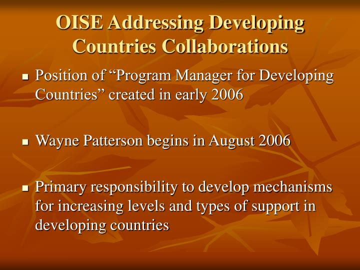 Oise addressing developing countries collaborations l.jpg
