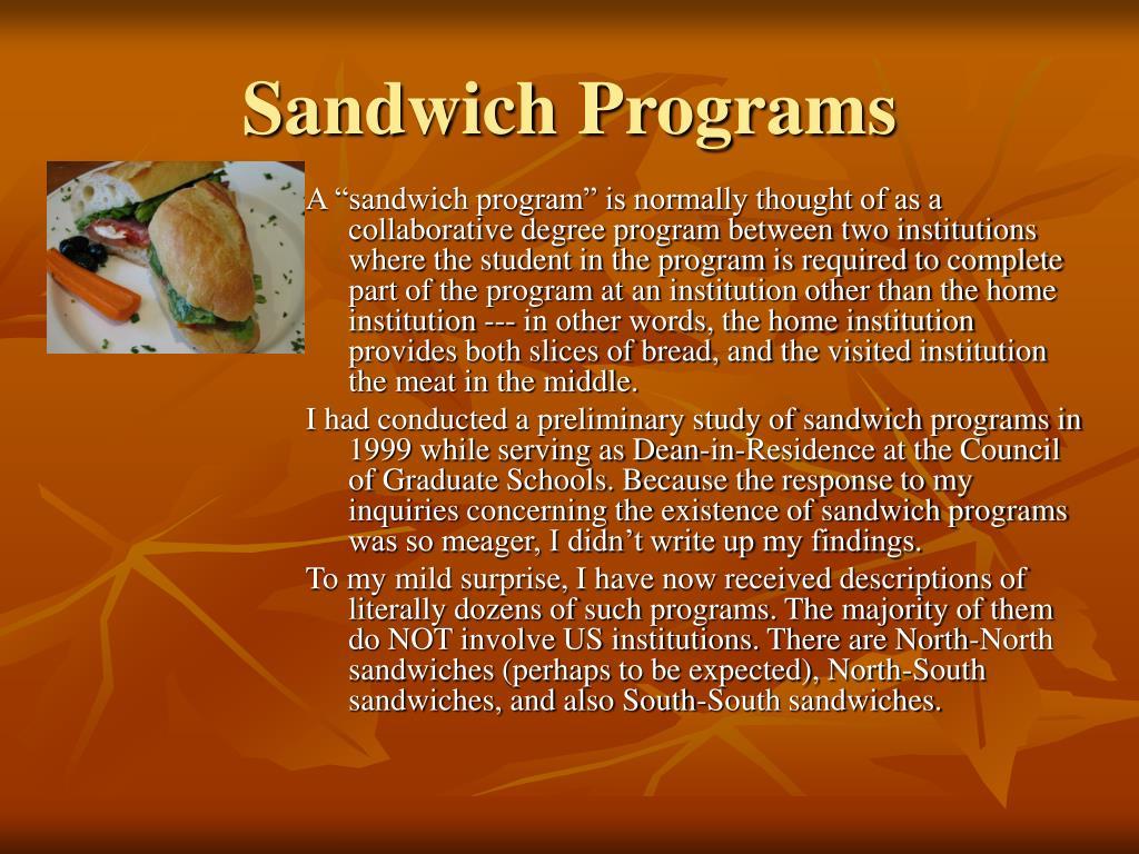 Sandwich Programs