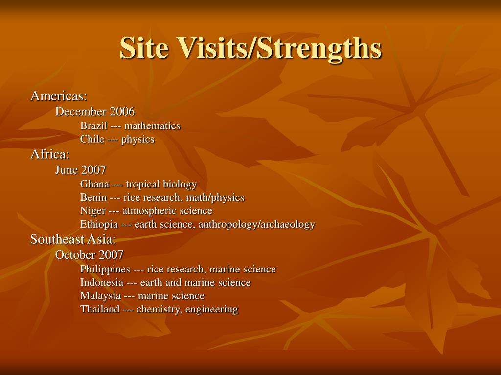 Site Visits/Strengths