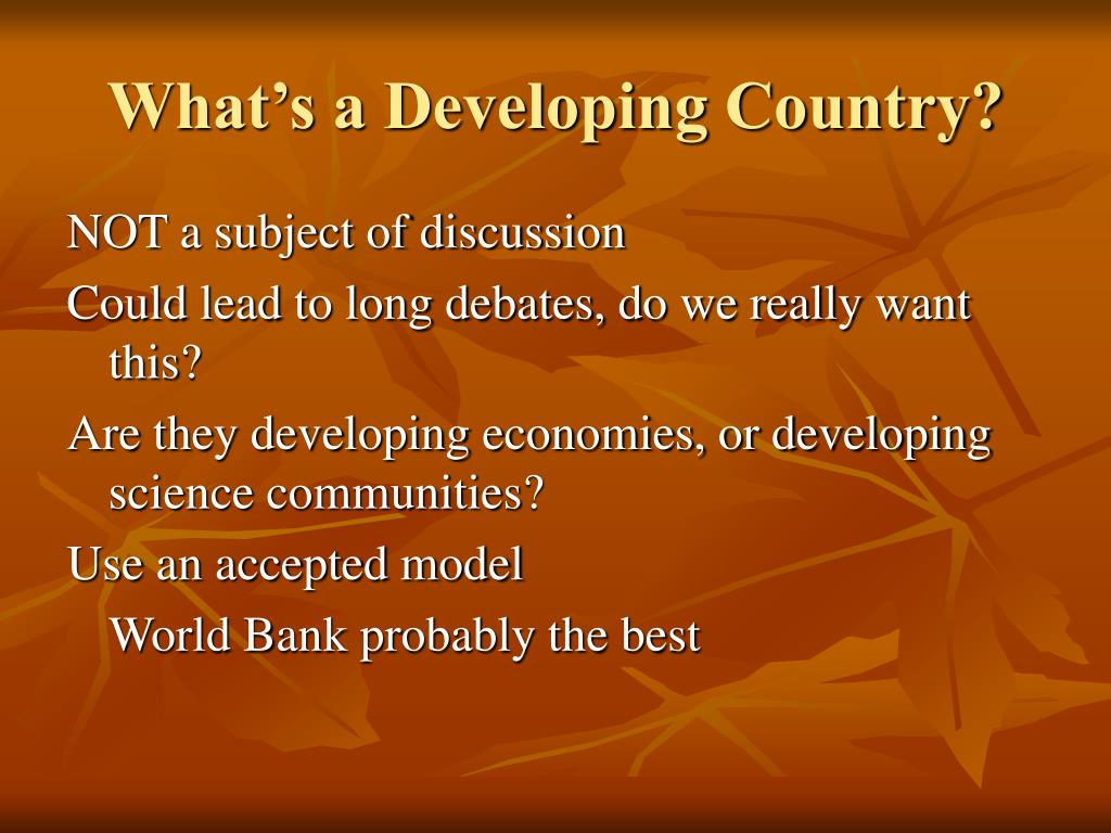 What's a Developing Country?