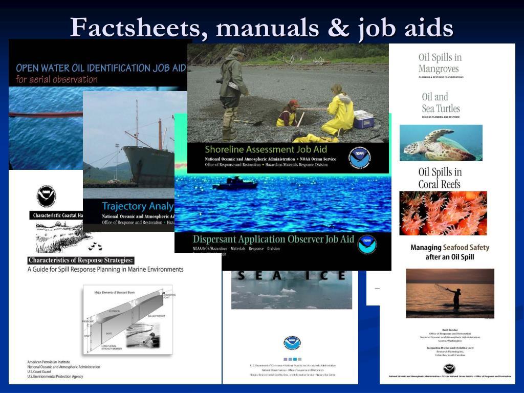 Factsheets, manuals & job aids