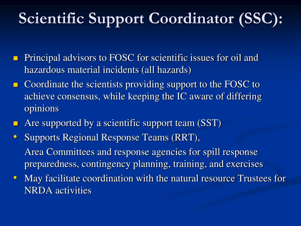 Scientific Support Coordinator (SSC):