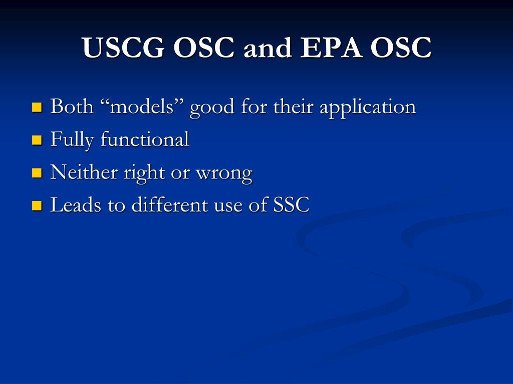 USCG OSC and EPA OSC