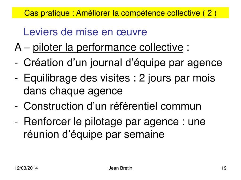Cas pratique : Améliorer la compétence collective ( 2 )
