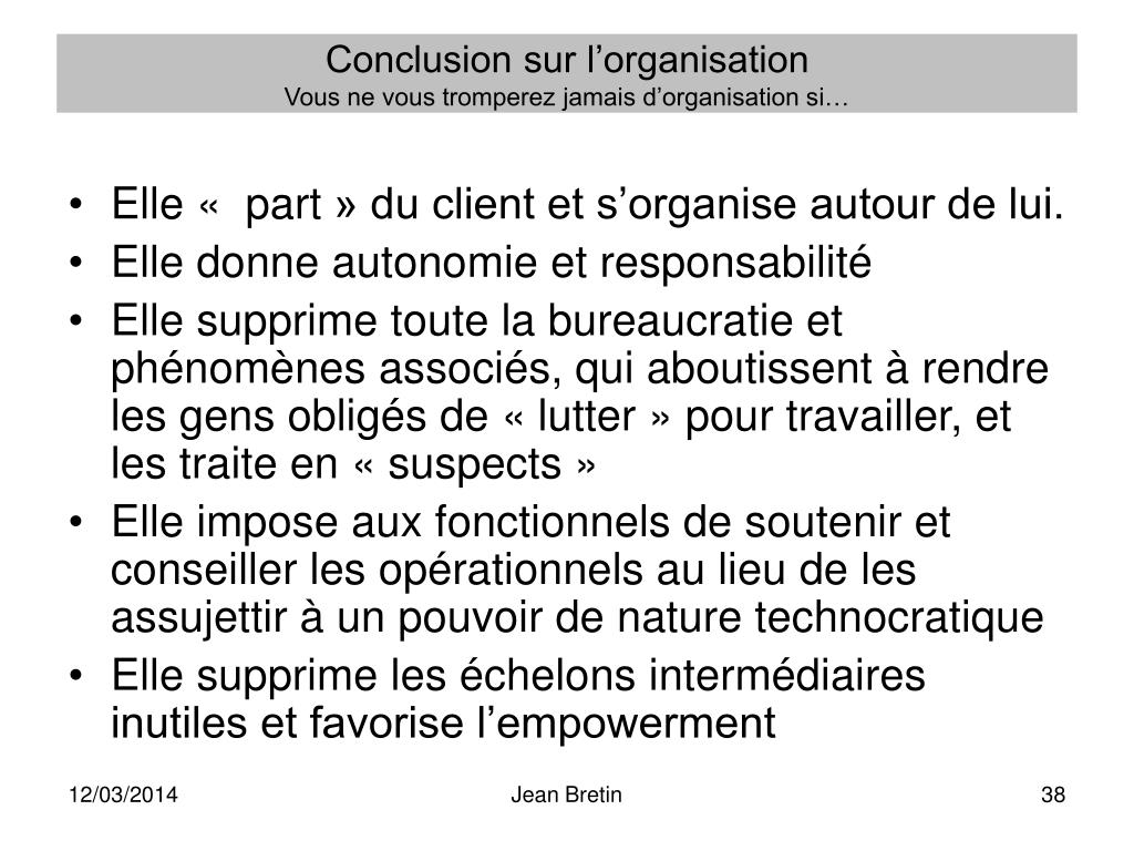 Conclusion sur l'organisation