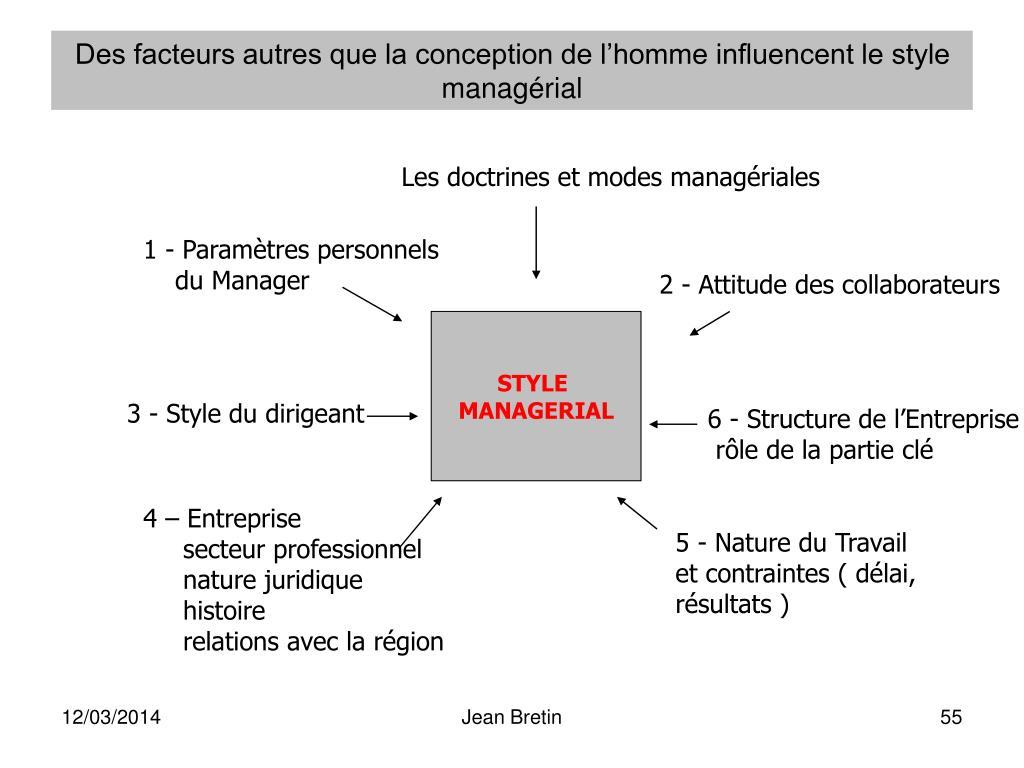 Des facteurs autres que la conception de l'homme influencent le style managérial