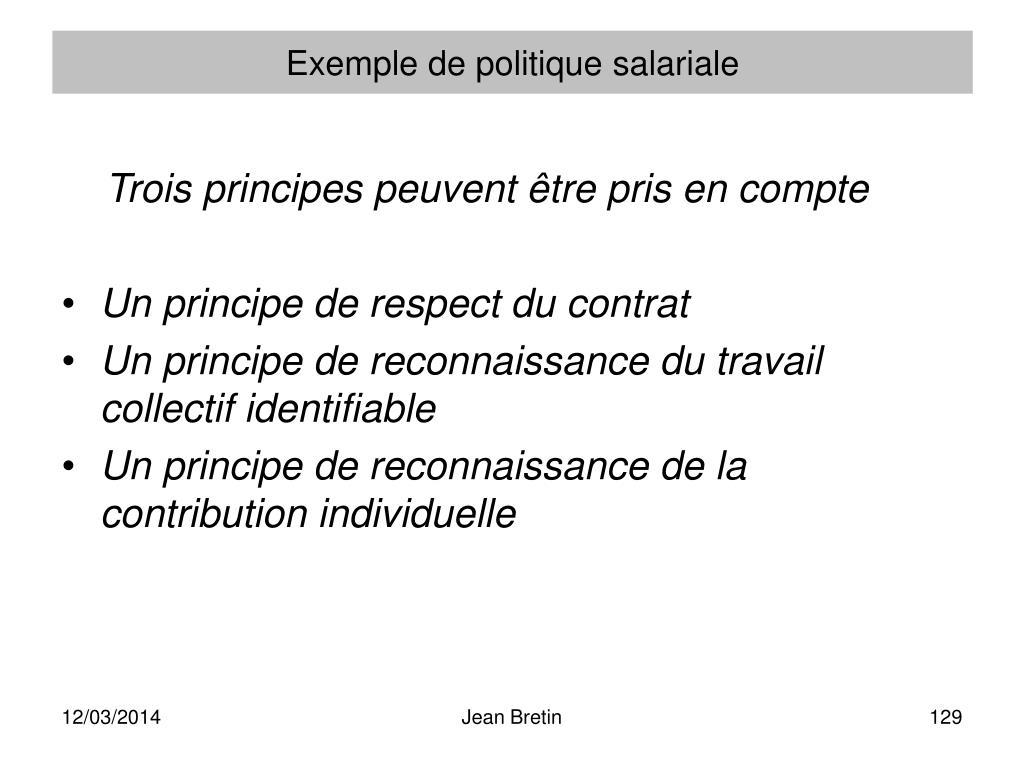 Exemple de politique salariale