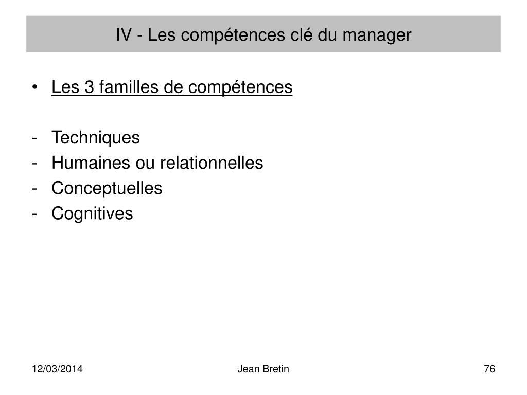 IV - Les compétences clé du manager