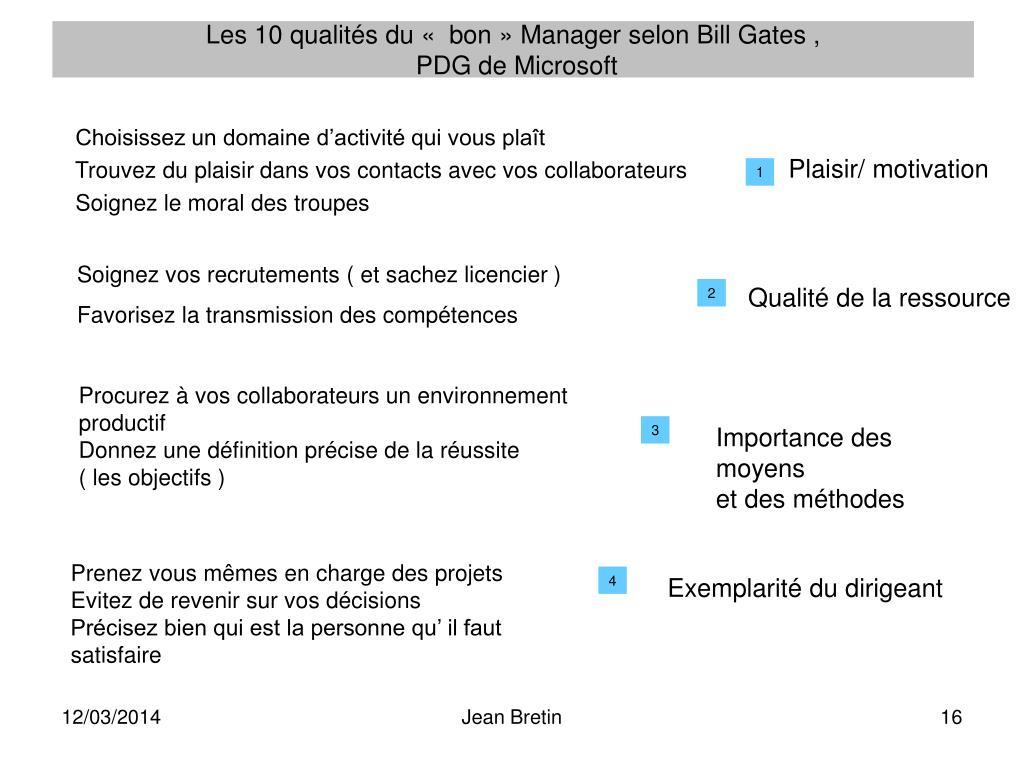 Les 10 qualités du « bon» Manager selon Bill Gates ,