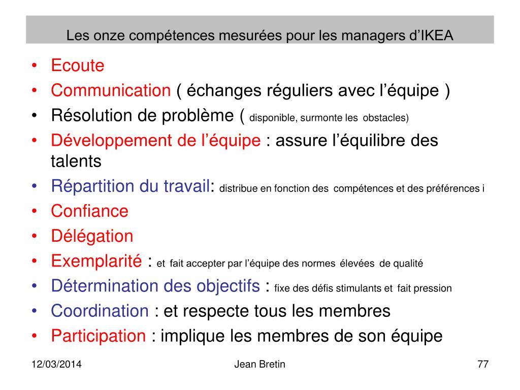 Les onze compétences mesurées pour les managers d'IKEA