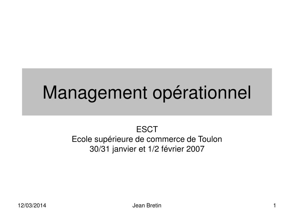 Management opérationnel