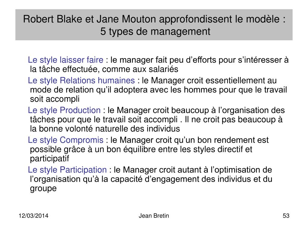 Robert Blake et Jane Mouton approfondissent le modèle :