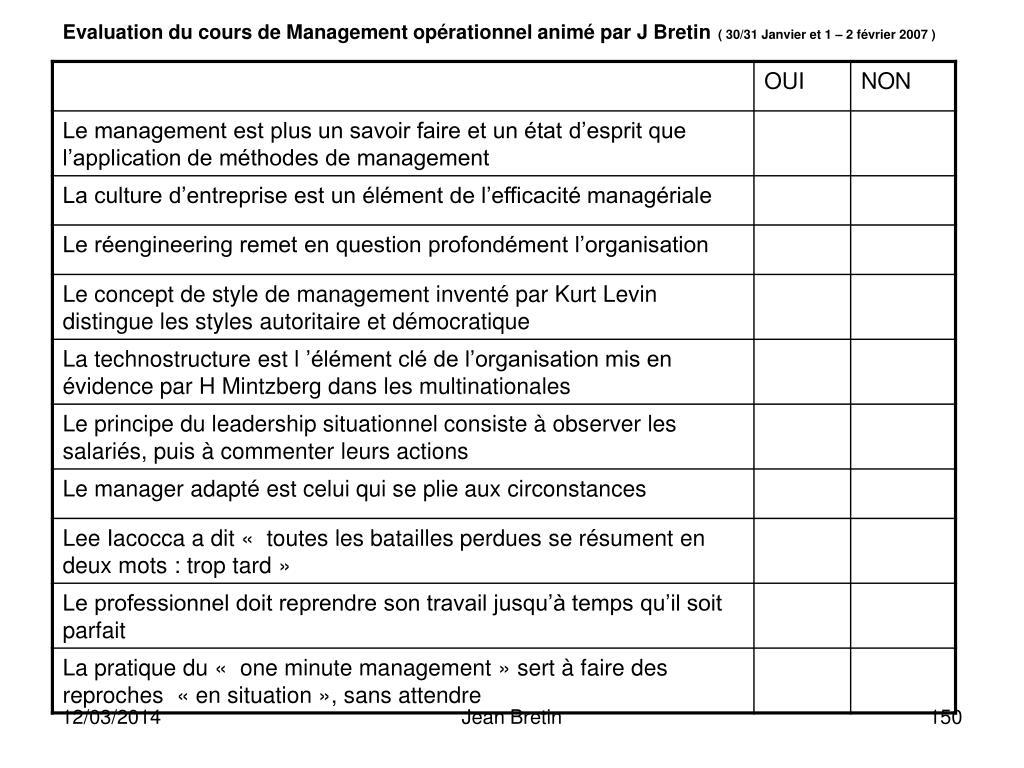 Evaluation du cours de Management opérationnel animé par J Bretin