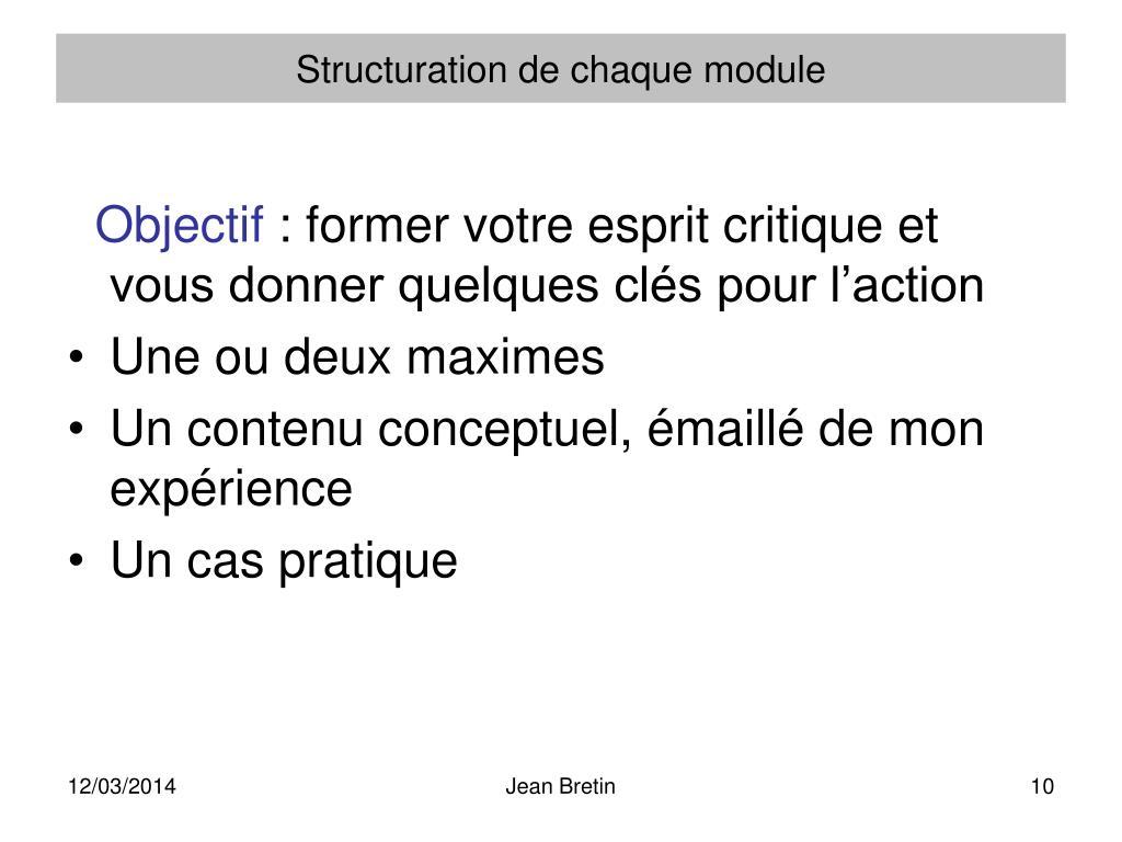 Structuration de chaque module