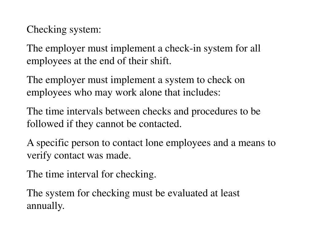 Checking system: