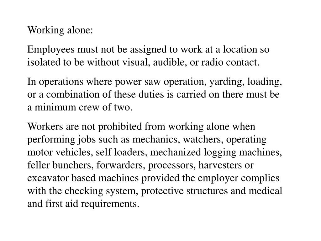 Working alone: