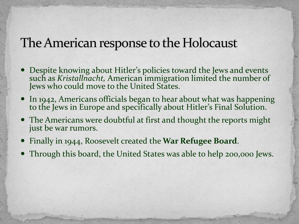 The American response to the Holocaust