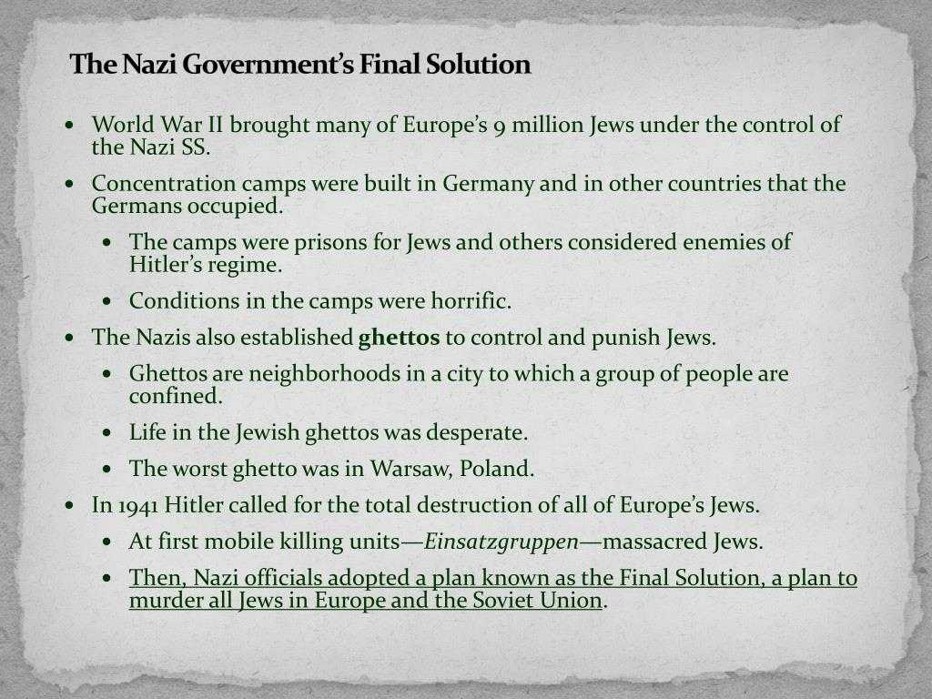 The Nazi Government's Final Solution