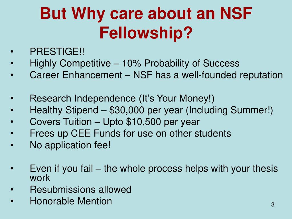 But Why care about an NSF Fellowship?