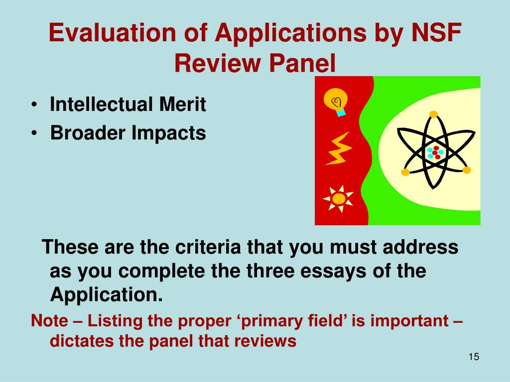 Evaluation of Applications by NSF Review Panel