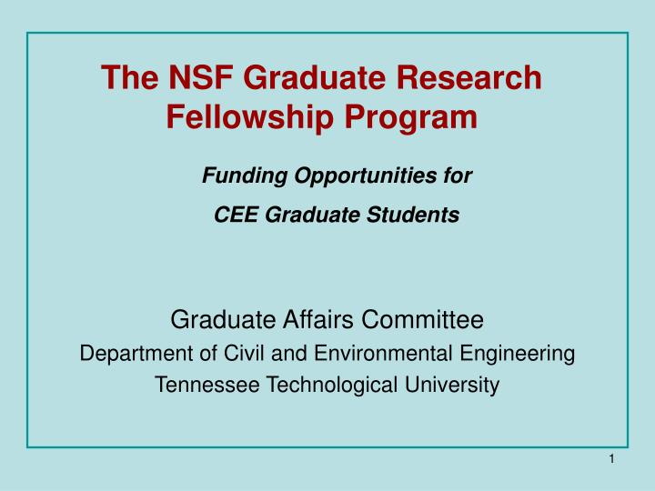 The nsf graduate research fellowship program l.jpg