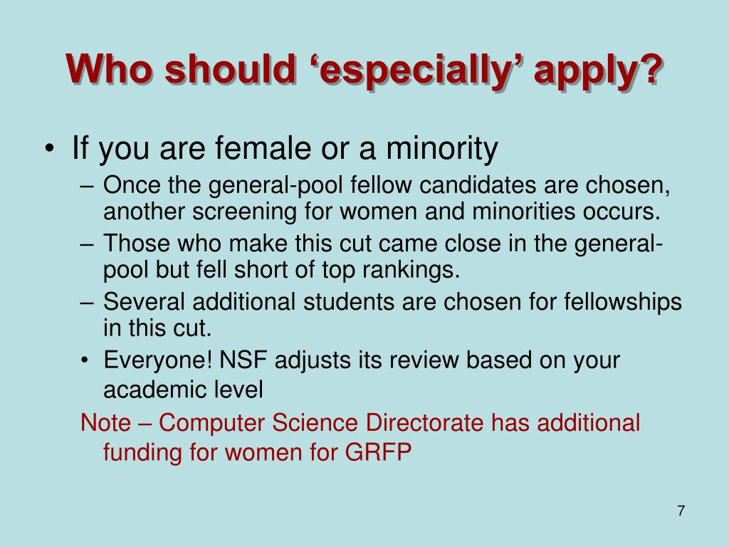 Who should 'especially' apply?