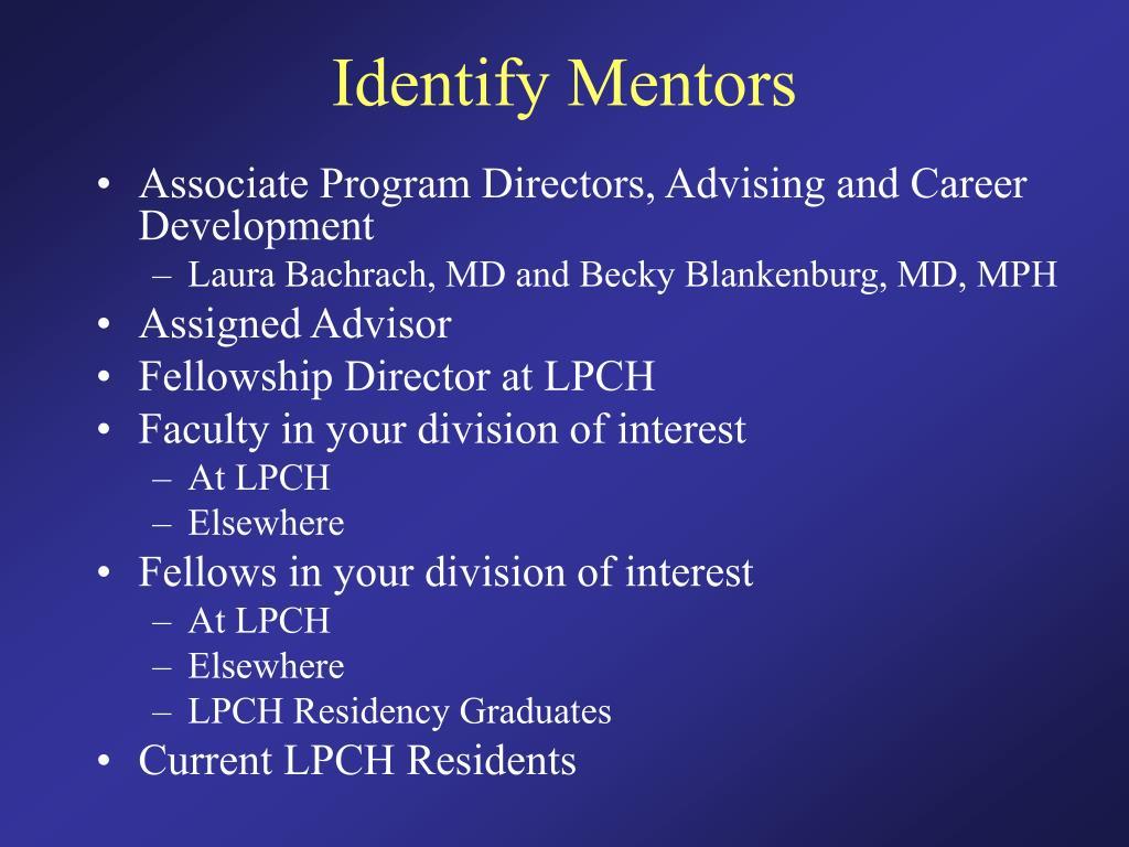 Identify Mentors