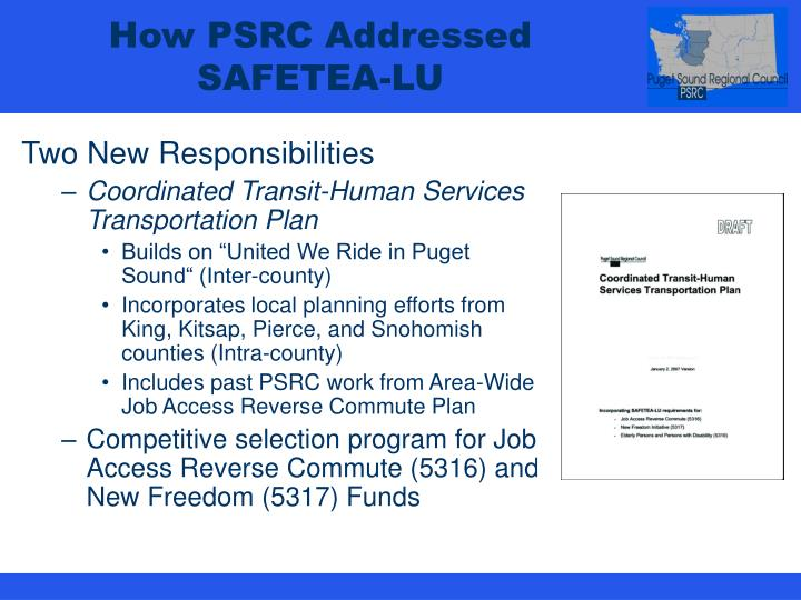 How PSRC Addressed SAFETEA-LU
