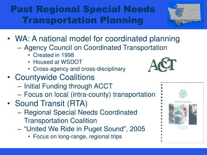 Past Regional Special Needs Transportation Planning