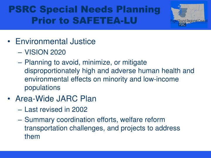 PSRC Special Needs Planning Prior to SAFETEA-LU