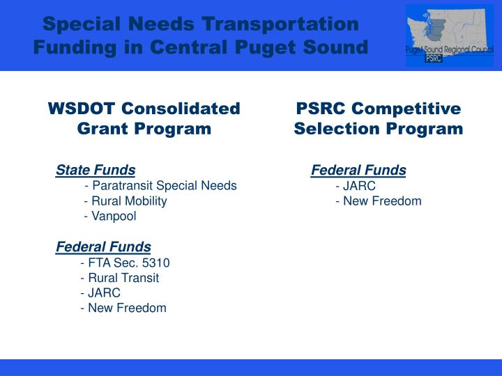 Special Needs Transportation Funding in Central Puget Sound