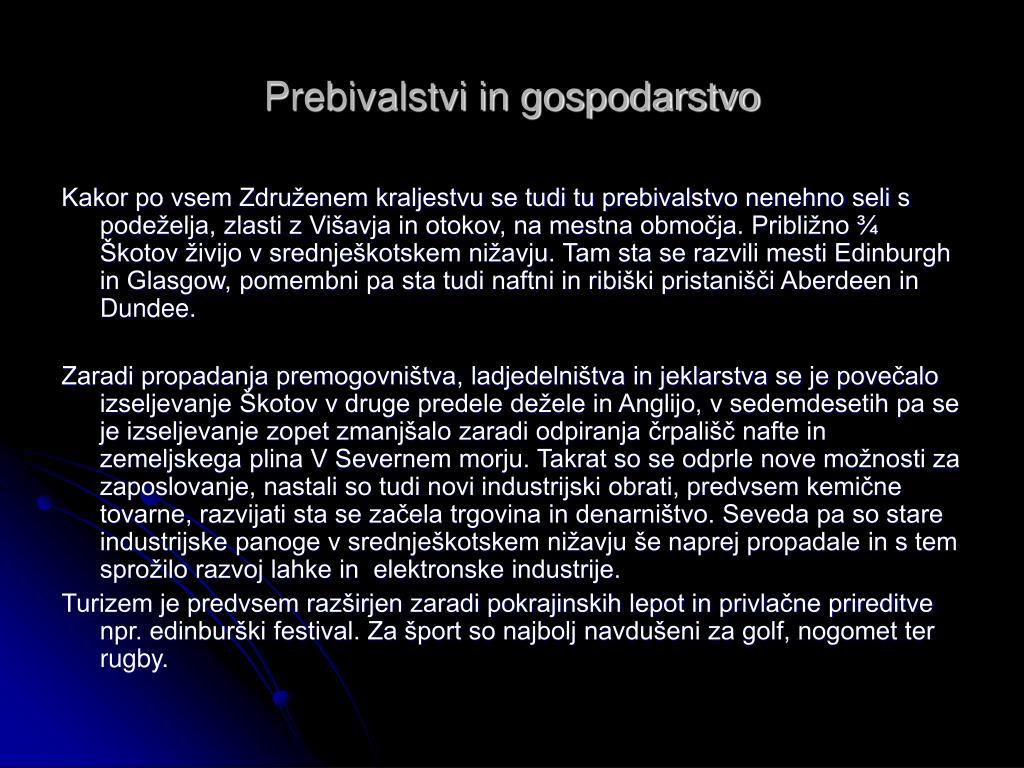 Prebivalstvi in gospodarstvo