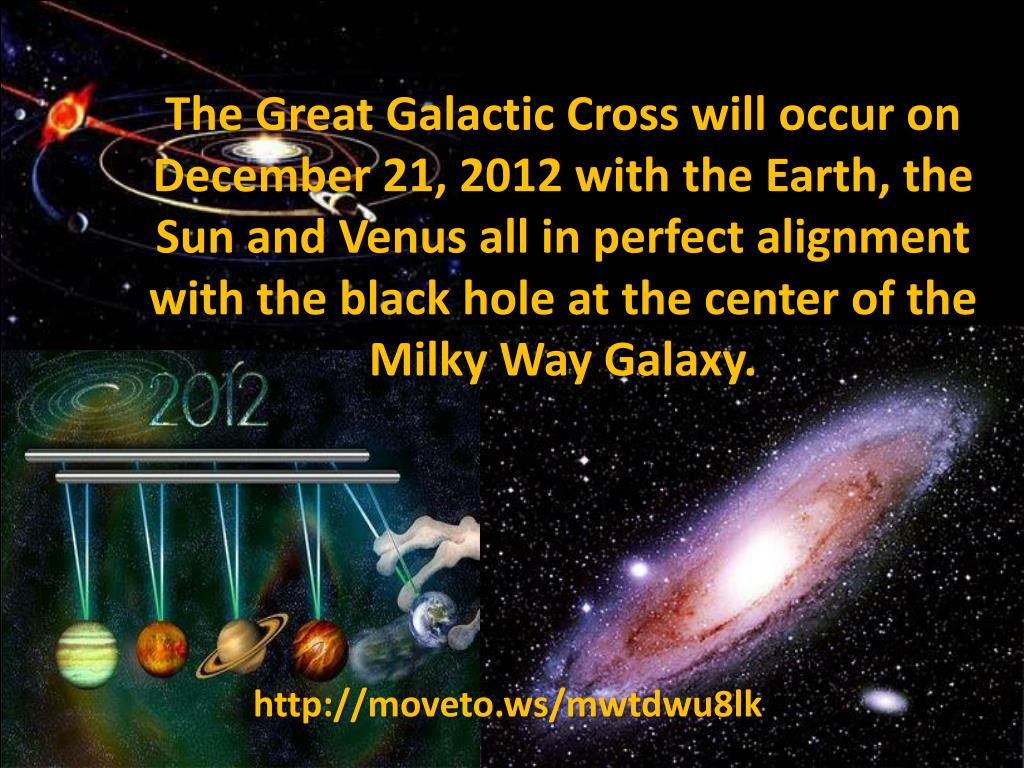 The Great Galactic Cross will occur on December 21, 2012 with the Earth, the Sun and Venus all in perfect alignment with the black hole at the center of the Milky Way Galaxy.