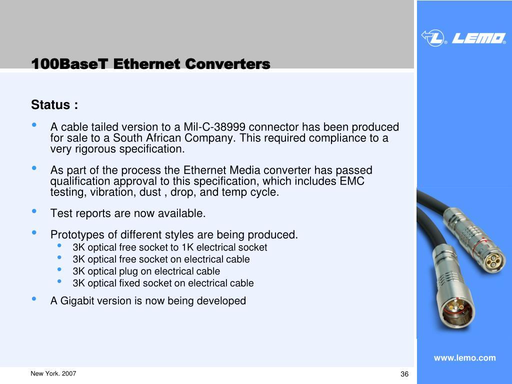 100BaseT Ethernet Converters