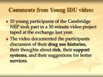 comments from young idu video