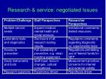research service negotiated issues