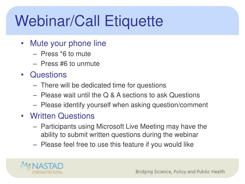 Webinar/Call Etiquette