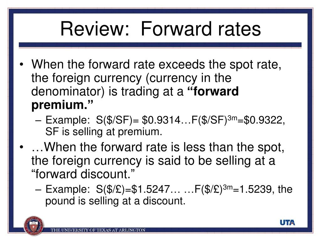 Review:  Forward rates