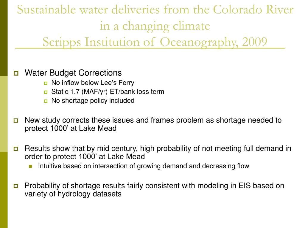 Water Budget Corrections