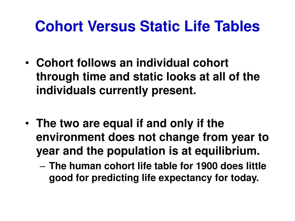 Cohort Versus Static Life Tables
