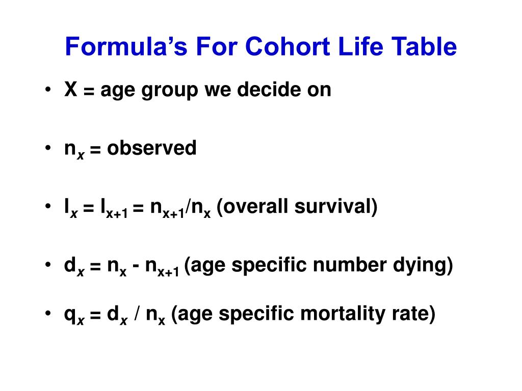 Formula's For Cohort Life Table