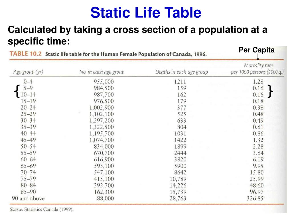Static Life Table