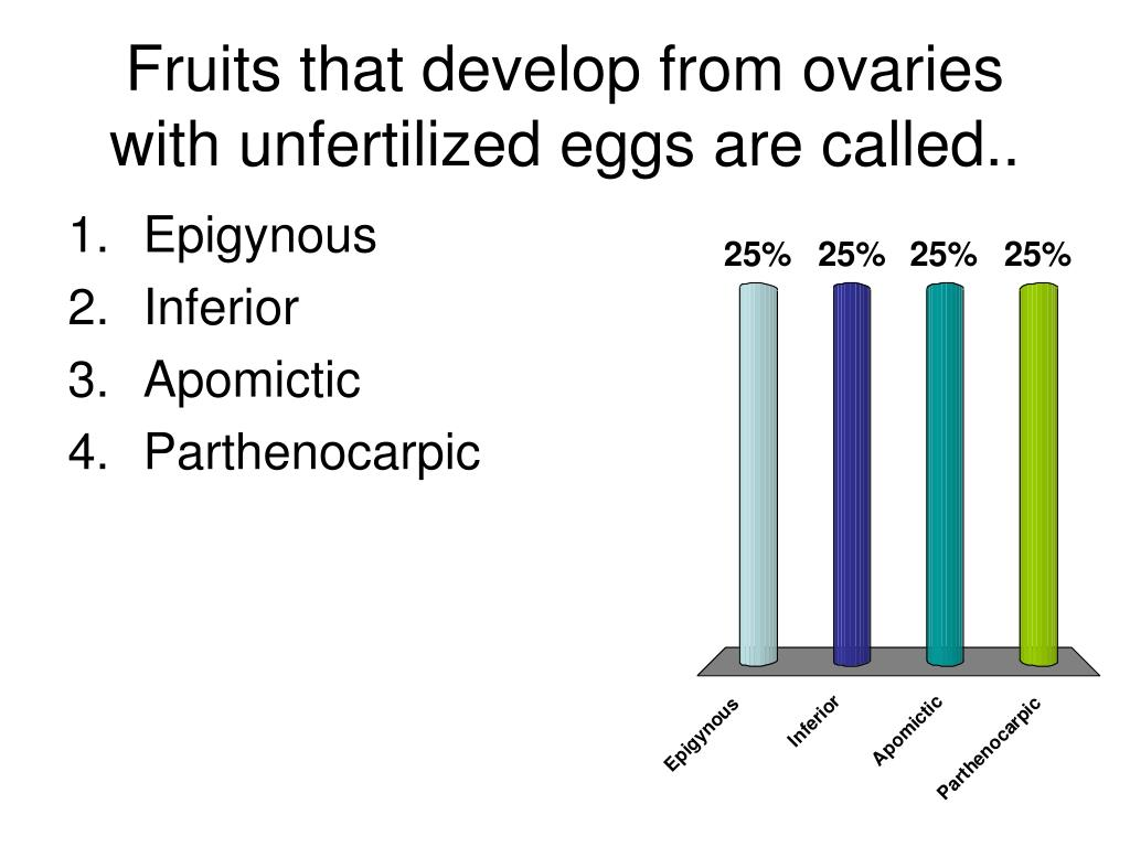 Fruits that develop from ovaries with unfertilized eggs are called..