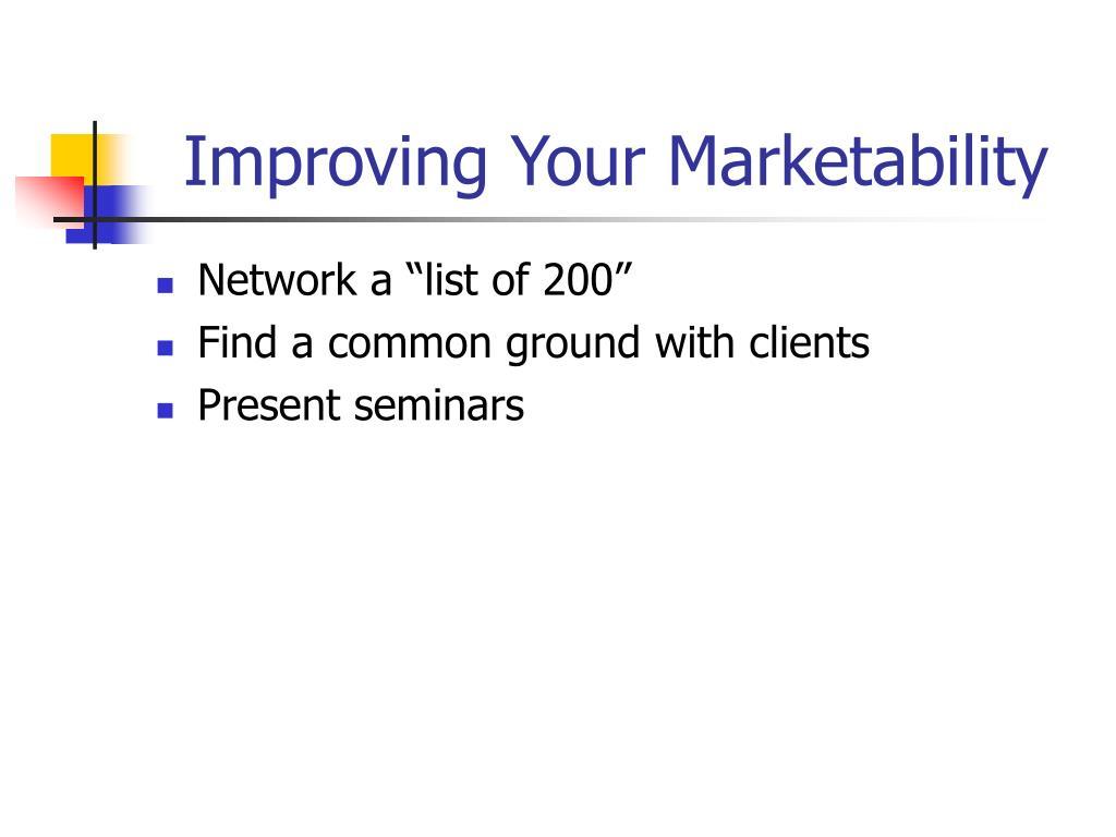 Improving Your Marketability