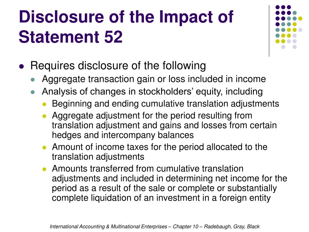Disclosure of the Impact of Statement 52