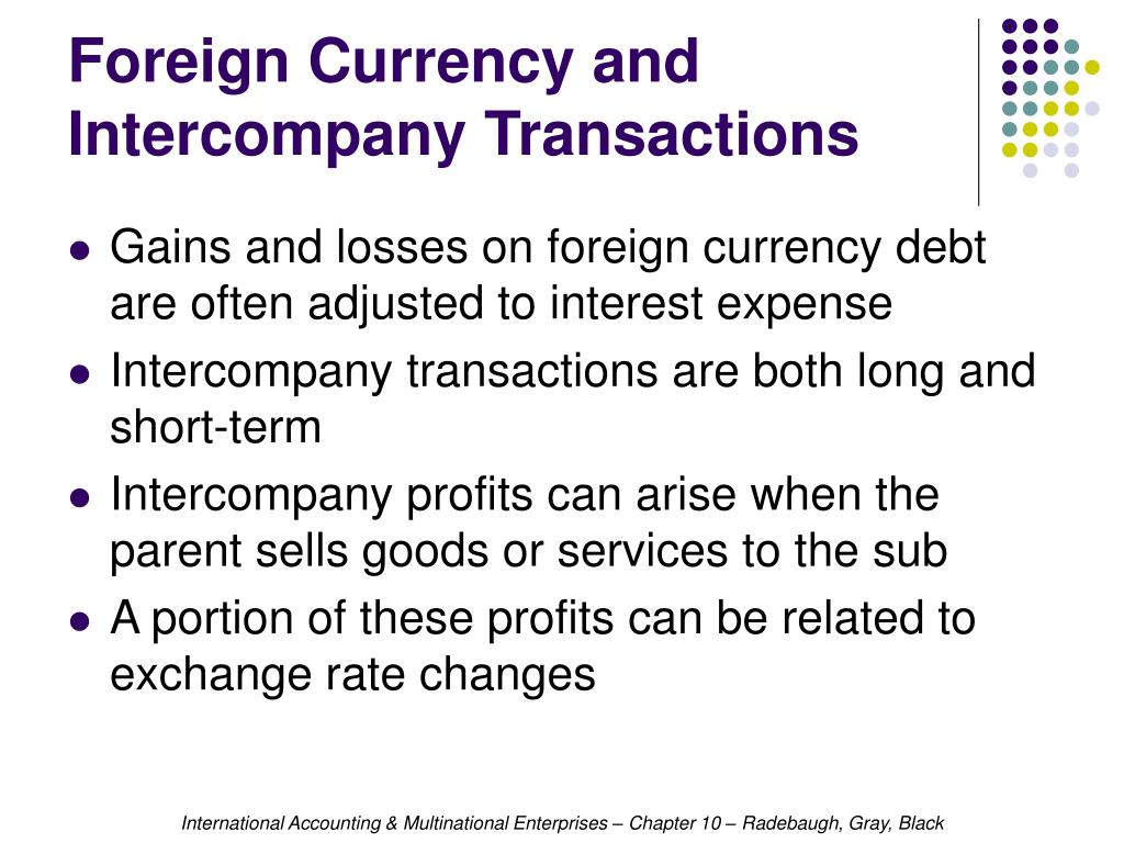 Foreign Currency and Intercompany Transactions